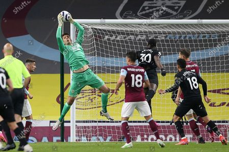 Burnley goalkeeper Nick Pope (1) gathers the cross ball during the Premier League match between Burnley and West Ham United at Turf Moor, Burnley