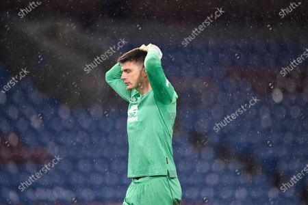 Burnley's goalkeeper Nick Pope reacts during the English Premier League soccer match between Burnley FC and West Ham United in Burnley, Britain, 03 May 2021.