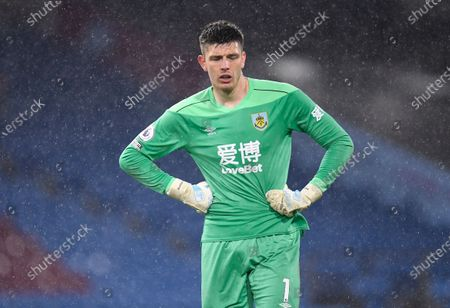 Stock Image of Burnley's goalkeeper Nick Pope reacts after the English Premier League soccer match between Burnley FC and West Ham United in Burnley, Britain, 03 May 2021.