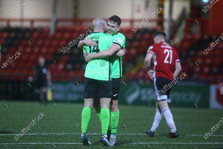 Derry City vs Finn Harps. Finn Harps' Mark Coyle and Mark Russell celebrate winning