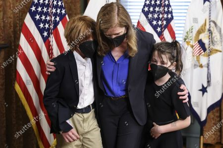 Samantha Power, administrator of the United States Agency for International Development (USAID), walks out accompanied by her children Declan and Rían, following a swearing in ceremony in the Eisenhower Executive Office Building in Washington, D.C., U.S.,. The Senate confirmed Power, who was an ambassador to the United Nations during the Obama administration, on April 28.