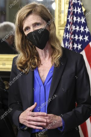 Samantha Power, administrator of the United States Agency for International Development (USAID), speaks during a swearing in ceremony in the Eisenhower Executive Office Building in Washington, D.C., U.S.,. The Senate confirmed Power, who was an ambassador to the United Nations during the Obama administration, on April 28.