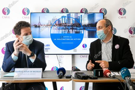 Press conference by Laurent Berger, Secretary General of CFDT, and Geoffroy Roux de Bezieux, president of the Medef at the time of his visita joint trip on the topic of vaccination of employees at the CMIE (Center medical inter-enterprises Europe) occupational medicine.
