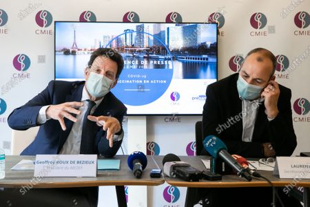 Stock Photo of Press conference by Laurent Berger, Secretary General of CFDT, and Geoffroy Roux de Bezieux, president of the Medef at the time of his visita joint trip on the topic of vaccination of employees at the CMIE (Center medical inter-enterprises Europe) occupational medicine.