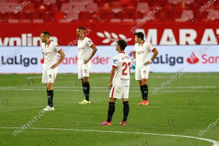 Oliver Torres, Joan Jordan, Fernando Reges and Marcos Acuna of Sevilla FC after Athletic's goal