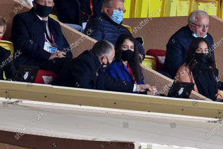 Stock Picture of JEAN MICHEL AULAS and his wife Alizé Lim, Tony Parker