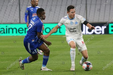 Marseille's Florian Thauvin during the French L1 football match between Marseille and Strasbourg at the Velodrome stadium in Marseille on April 30, 2021.