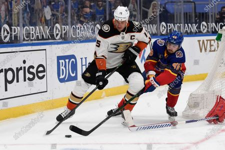 Stock Photo of St. Louis Blues' Jake Walman (46) defends against Anaheim Ducks' Ryan Getzlaf (15) during the first period of an NHL hockey game, in St. Louis