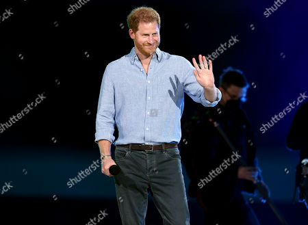 Prince Harry, Duke of Sussex, speaks onstage during Global Citizen VAX LIVE: The Concert To Reunite The World at SoFi Stadium in Inglewood, California. Global Citizen VAX LIVE: The Concert To Reunite The World will be broadcast on May 8, 2021.