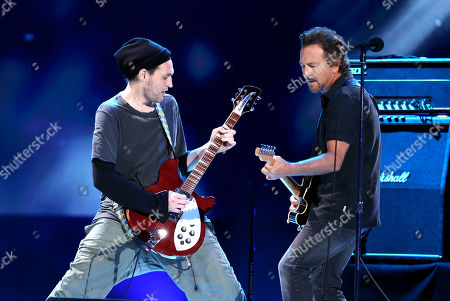 (L-R) Josh Klinghoffer and Eddie Vedder perform onstage during Global Citizen VAX LIVE: The Concert To Reunite The World at SoFi Stadium in Inglewood, California. Global Citizen VAX LIVE: The Concert To Reunite The World will be broadcast on May 8, 2021.
