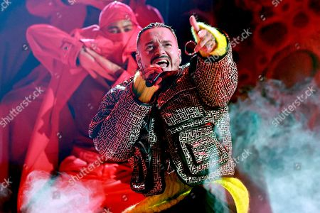 Stock Photo of J Balvin performs onstage during Global Citizen VAX LIVE: The Concert To Reunite The World at SoFi Stadium in Inglewood, California. Global Citizen VAX LIVE: The Concert To Reunite The World will be broadcast on May 8, 2021.