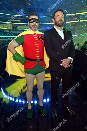 (L-R) and Jimmy Kimmel (in costume as Robin) and Ben Affleck backstage during Global Citizen VAX LIVE: The Concert To Reunite The World at SoFi Stadium in Inglewood, California. Global Citizen VAX LIVE: The Concert To Reunite The World will be broadcast on May 8, 2021.