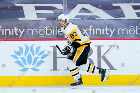 Pittsburgh Penguins' Sidney Crosby plays during an NHL hockey game against the Philadelphia Flyers, in Philadelphia