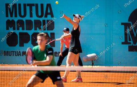 Gabriela Dabrowski of Canada & Demi Schuurs of the Netherlands playing doubles at the 2021 Mutua Madrid Open WTA 1000 tournament
