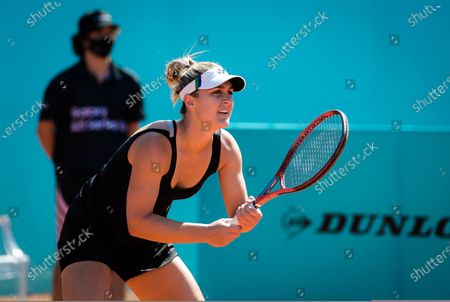 Gabriela Dabrowski of Canada playing doubles at the 2021 Mutua Madrid Open WTA 1000 tournament