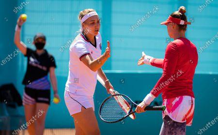 Elena Vesnina & Vera Zvonareva of Russia playing doubles at the 2021 Mutua Madrid Open WTA 1000 tournament