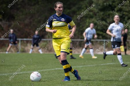 Katie Davies (7 Cascade)  controls the ball during the Welsh Premier Womens Football League game between Swansea City and Cascade at Llandarcy Academy in Neath, Wales.