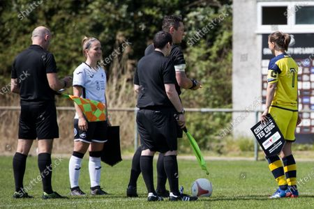 Captains Emma Beynon (6 Swansea) and Katie Davies (7 Cascade) in the coin toss during the Welsh Premier Womens Football League game between Swansea City and Cascade at Llandarcy Academy in Neath, Wales.