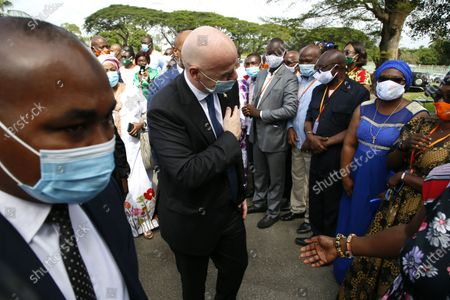 FIFA President Gianni Infantino (C) and African Football Confederation (CAF) President Patrice Motsepe (concealed) arrive at the headquarters of the Ivorian Football Federation (FIF) in Abidjan, Ivory Coast, 04 May 2021. FIFA President Infantino and his CAF President Motsepe are in Abidjan for a working visit.