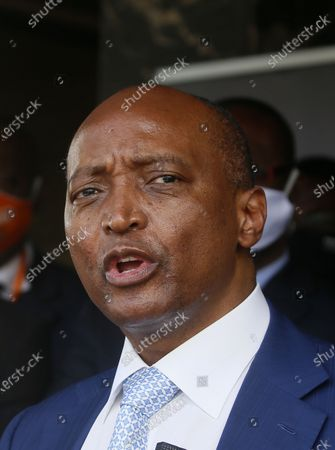 The President of the African Football Confederation (CAF), Patrice Motsepe delivers a speech during a press conference at the headquarters of the Ivorian Football Federation (FIF) in Abidjan, Ivory Coast, 04 May 2021. FIFA President Infantino and his CAF President Motsepe are in Abidjan for a working visit.