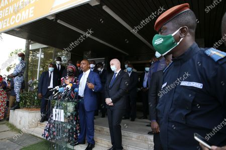 The President of the African Football Confederation (CAF), Patrice Motsepe (C) delivers a speech during a press conference at the headquarters of the Ivorian Football Federation (FIF) in Abidjan, Ivory Coast, 04 May 2021. FIFA President Infantino and his CAF President Motsepe are in Abidjan for a working visit.