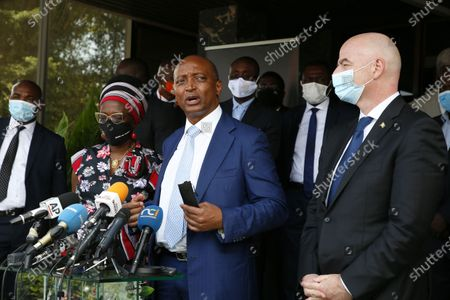The President of the African Football Confederation (CAF), Mr. Patrice Motsepe (C) delivers a speech during a press conference at the headquarters of the Ivorian Football Federation (FIF) in Abidjan, Ivory Coast, 04 May 2021. FIFA President Infantino and his CAF President Motsepe are in Abidjan for a working visit.