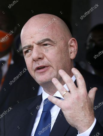 The President of the International Federation of Association Football (FIFA), Gianni Infantino delivers a speech during a press conference at the headquarters of the Ivorian Football Federation (FIF) in Abidjan, Ivory Coast, 04 May 2021. FIFA President Infantino and head of the African Football Confederation (CAF) President Motsepe are in Abidjan for a working visit.