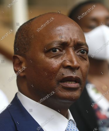The President of the African Football Confederation (CAF), Patrice Motsepe delivers a speech during a press conference a the presidential palace in Abidjan, Ivory Coast, 04 May 2021. FIFA President Infantino and CAF President Motsepe are in Abidjan for a working visit.