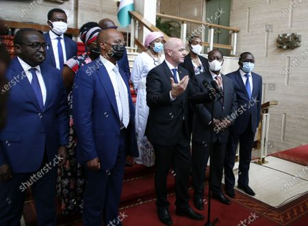 Editorial image of FIFA President Gianni Infantino and CAF President Patrice Motsepe in Abidjan, Ivory Coast - 04 May 2021