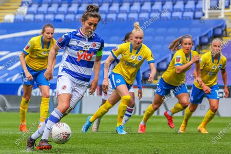 Fara Williams (Reading 4) scores penalty during the Barclays FA Womens Super League game between Reading and Brighton & Hove Albion at The Madejski Stadium in Reading.