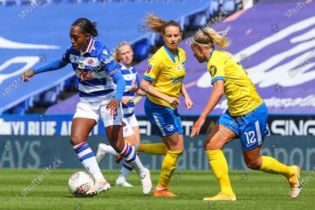 Danielle Carter (Reading 18) runs with ball during the Barclays FA Womens Super League game between Reading and Brighton & Hove Albion at The Madejski Stadium in Reading.
