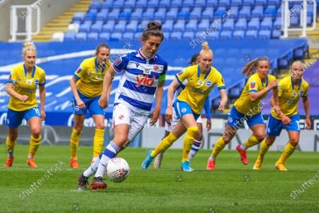 Stock Image of Fara Williams (Reading 4) her teams first goal of the game from the spot during the Barclays FA Womens Super League game between Reading and Brighton & Hove Albion at The Madejski Stadium in Reading.