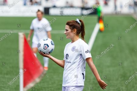 Emily Fox (11 Racing Louisville FC) before a throw in during the National Womens Soccer League game between Gotham FC and Racing Louisville FC at Pittser Field in Montclair, New Jersey, United States of America.