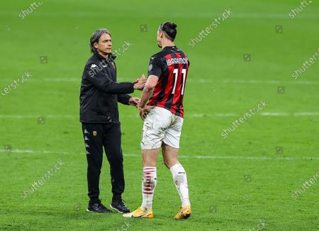 Stock Picture of Zlatan Ibrahimovic of AC Milan and Head Coach of Benevento Calcio Filippo Inzaghi