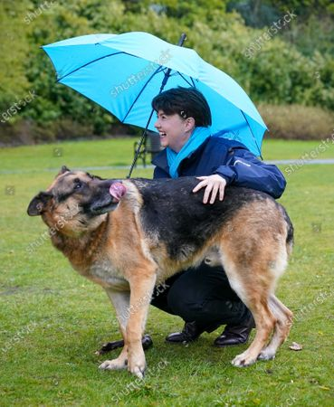 Ruth Davidson - Leader of the Conservative Party in the Scottish Parliament photographed with a dog called Kai while campaigning with Douglas Ross - Leader of the Scottish Conservative Party in a park in Musselburgh, Edinburgh today.