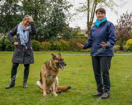 "Conservative candidate Marie-Clair Munro & Ruth Davidson - Leader of the Conservative Party in the Scottish Parliament photographed with Marie-Clair's dog ""Kai"" while campaigning with Douglas Ross - Leader of the Scottish Conservative Party in a park in Musselburgh, Edinburgh today."