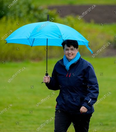 Stock Photo of Ruth Davidson - Leader of the Conservative Party in the Scottish Parliament photographed  while campaigning with Douglas Ross - Leader of the Scottish Conservative Party in a park in Musselburgh, Edinburgh today.