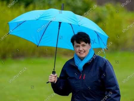 Stock Picture of Ruth Davidson - Leader of the Conservative Party in the Scottish Parliament photographed  while campaigning with Douglas Ross - Leader of the Scottish Conservative Party in a park in Musselburgh, Edinburgh today.