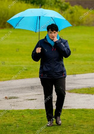 Ruth Davidson - Leader of the Conservative Party in the Scottish Parliament photographed  while campaigning with Douglas Ross - Leader of the Scottish Conservative Party in a park in Musselburgh, Edinburgh today.