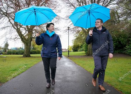 Ruth Davidson - Leader of the Conservative Party in the Scottish Parliament and Douglas Ross - Leader of the Scottish Conservative Party campaign in a park in Musselburgh, Edinburgh today.