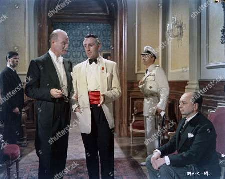 Peter Halliday as Guani's Secretary, Anthony Bushell as Mr. Millington Drake - British Minister, Montevideo, Douglas Wilmer as M. Desmoulins - French Minister, Montevideo, Peter Finch as Captain Langsdorff - 'Admiral Graf Spee' and John Chandos as Dr. Langmann - German Minister, Montevideo