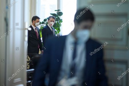 Austrian Chancellor Sebastian Kurz (R) and Slovak Prime Minister Eduard Heger (L) arrive for a meeting at the Austrian Chancellery, in Vienna, Austria, 04 May 2021. Eduard Heger is on a working visit in Vienna.