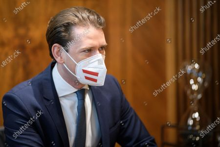 Austrian Chancellor Sebastian Kurz ahead of a meeting with Slovak Prime Minister Eduard Heger (not pictured) at the Austrian Chancellery, in Vienna, Austria, 04 May 2021. Eduard Heger is on a working visit in Vienna.