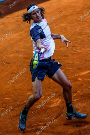 Lloyd Harris of South Africa in action during his match against Alex de Minaur of Australia at the Mutua Madrid Open tennis tournament in Madrid, Spain, 04 May 2021.