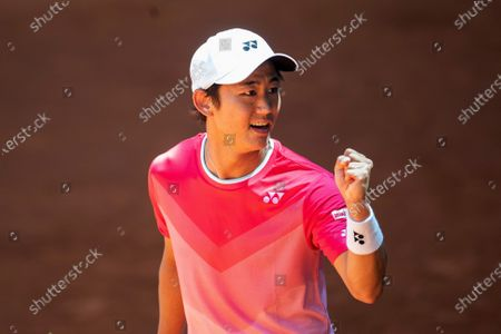 Yoshihito Nishioka of Japan reacts during his first round match against Filip Krajinovic of Serbia at the Mutua Madrid Open tennis tournament at La Caja Magica tennis complex in Madrid, Spain, 04 May 2021.