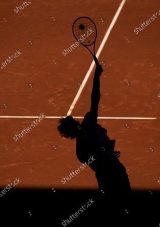 Andrey Rublev of Russia in action against Tommy Paul of the USA during their second round match at the Mutua Madrid Open tennis tournament at La Caja Magica tennis complex in Madrid, Spain, 04 May 2021.