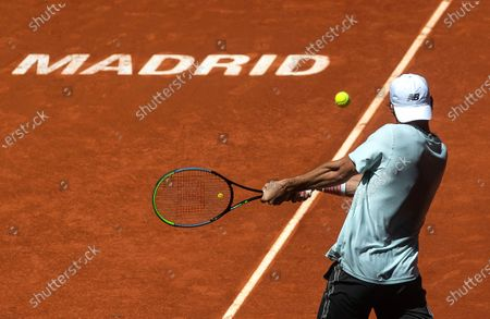 Tommy Paul of the USA in action against Andrey Rublev of Russia during their second round match at the Mutua Madrid Open tennis tournament at La Caja Magica tennis complex in Madrid, Spain, 04 May 2021.