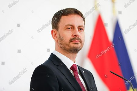 Slovakian Prime Minister Eduard Heger during a news conference with Austrian Chancellor Sebastian Kurz in Vienna, Austria