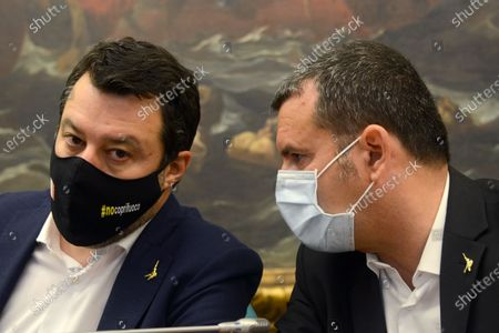 Stock Image of Matteo Salvini (left) and Gian Marco Centinaio (right)