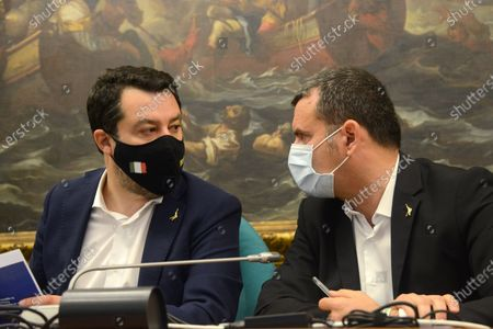 Matteo Salvini (left) and Gian Marco Centinaio (right)